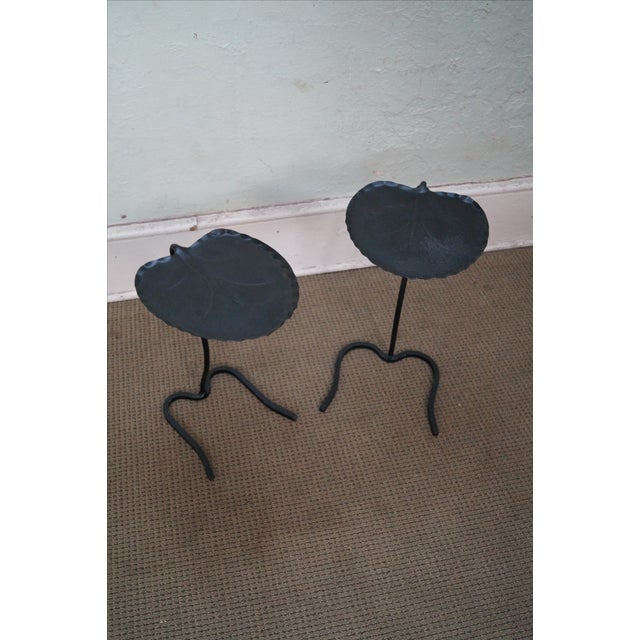Salterini Iron Lily Pad Side Tables - Pair - Image 2 of 10