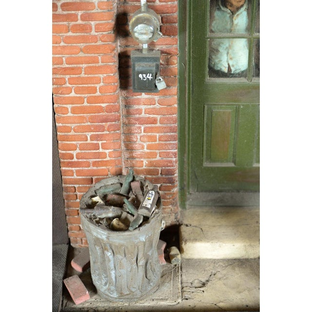 NY City ghetto w/man looking out from behind the door- Sculpture by Michael Garman - Image 5 of 10