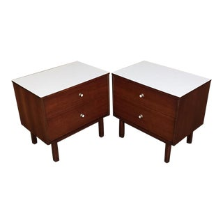Mid-Century Danish Modern White Top Nightstands - a Pair