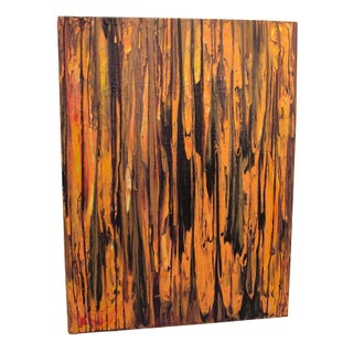 Abstract Acrylic Painting in Burnt Orange
