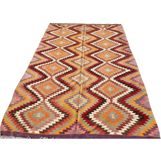 "Vintage Diamond Turkish Kilim Rug - 6' 10""x 11' 7"" - Image 1 of 6"