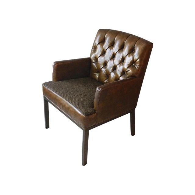 Leather & Tweed Tufted Back Armchair - Image 1 of 6