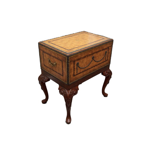 Image of Maitland Smith Studded Leather Flip Top Box Table
