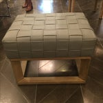 Image of Grey Woven Leather Strap Bench
