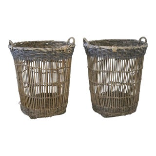 Large Blue Rim French Harvest Baskets - a Pair