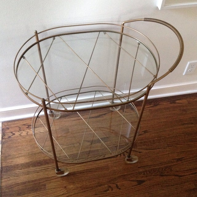 Vintage Brass Bar Cart - Image 3 of 11