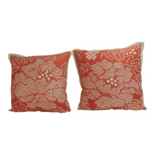 Pair of Vintage Japanese Pink and White Shibori Decorative Pillows,