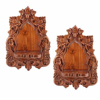 Hand-Carved and Embellished Shelves - Pair