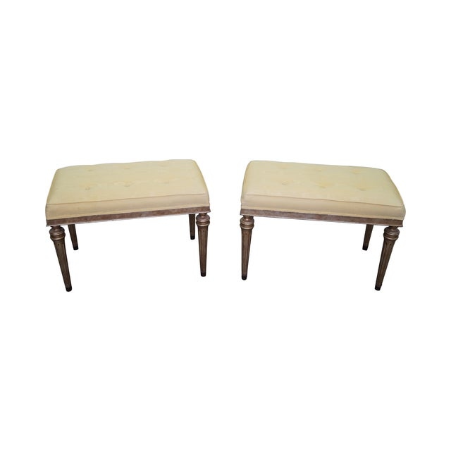 Image of Vintage Custom Silver Gilt Regency Benches - Pair