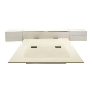 Queen Ivory Platform Bed with Attached Nightstands & Headboard Storage, Rougier