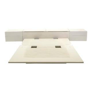 Queen Ivory Platform Bed with Attached Nightstands & Headboard Storage, Rougier