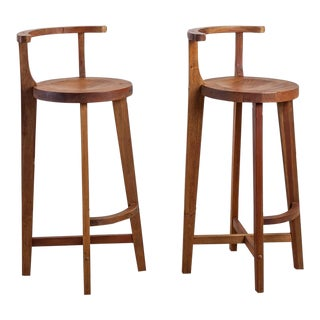 Pair Studio crafted wooden bar stools with rounded back rests