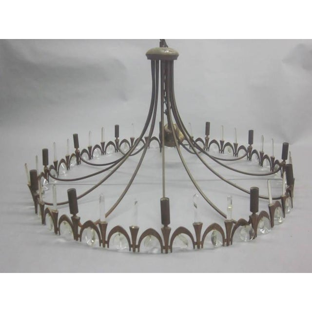 Italian Modern Neoclassical Gilt Bronze and Crystal Chandelier - Image 3 of 9