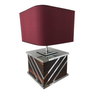1970's Rosewood and Chrome Table Lamp