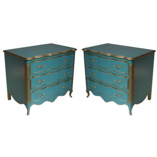 Vintage 3-Drawer Blue Commodes - A Pair