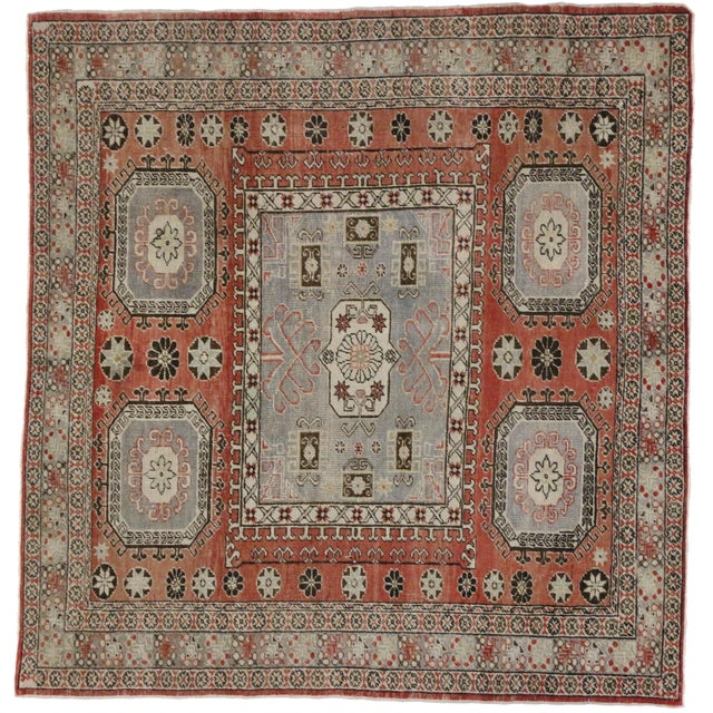 """Distressed Turkish Mid-Century Modern Style Square Rug - 4'3"""" x 4'5"""" - Image 7 of 7"""