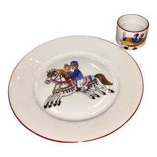 German Porcelain Child's Cup & Plate Set