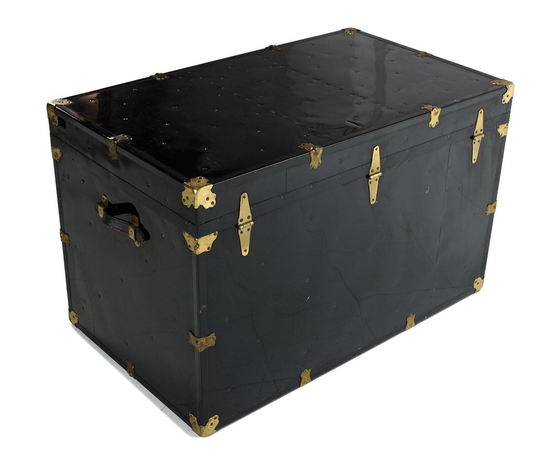 Black Enamel Steamer Trunk