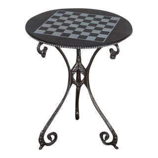 Vintage French Polished Iron Game Table Chess Board Top circa 1900
