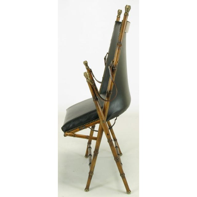 Italian Campaign Chair In Black Leather - Image 3 of 10