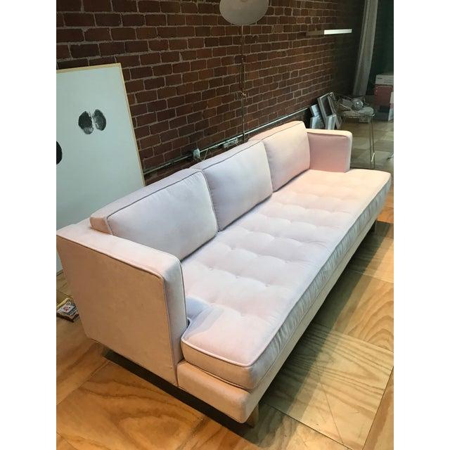 Modern Light Pink Velvet Sofa - Image 2 of 5