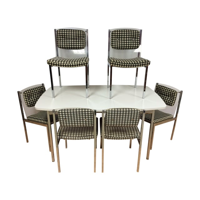 Image of Mid-Century Chrome & Lucite Dining Set