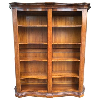 Walnut Curved Front Double Bookcase