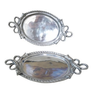Admiral Oval Silver Trays - A Pair