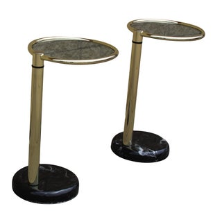 Mastercraft Brass and Black Marble Swivel Table