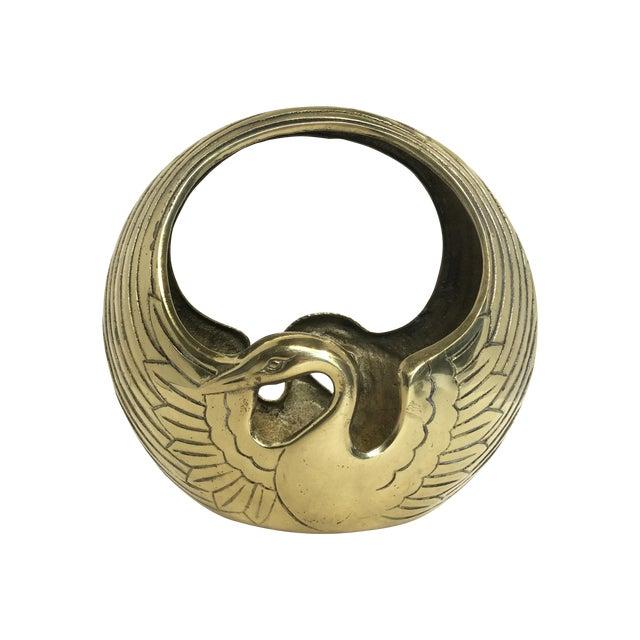 Art Deco Style Brass Swan Basket - Image 1 of 8