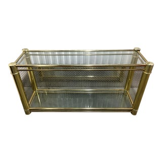 Brass Frame Double-Tier Glass Console Table