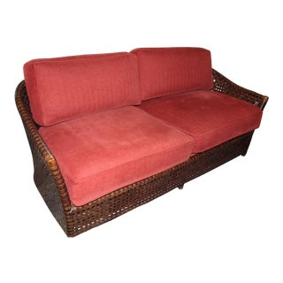 McGuire Leather Rattan Sofa