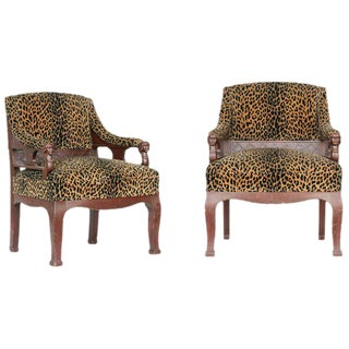 Empire Style Leopard Print Covering Chair - A Pair