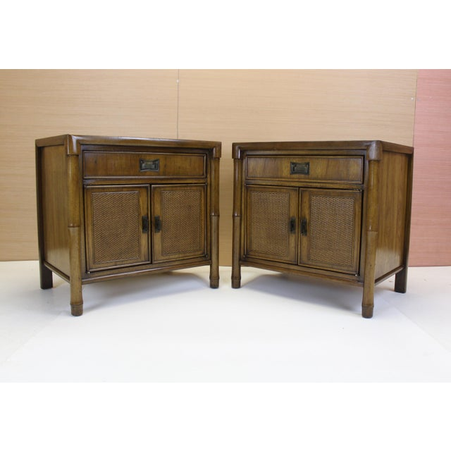 Image of Mid-Century Campaign Style Nightstands - A Pair
