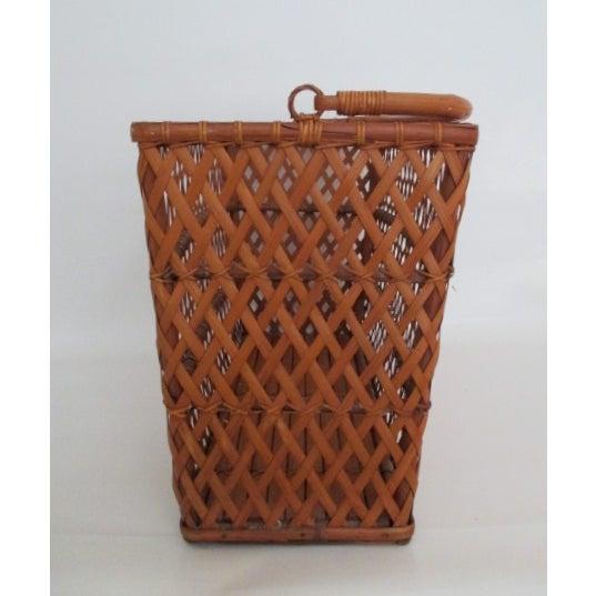 Vintage Handmade Wicker Basket - Image 4 of 6