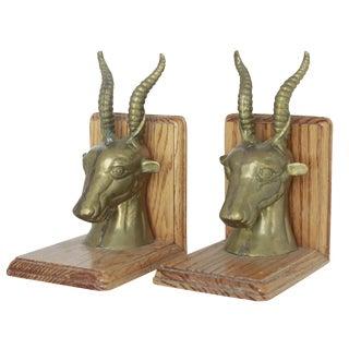 Brass & Wood Rams Head Bookends - A Pair