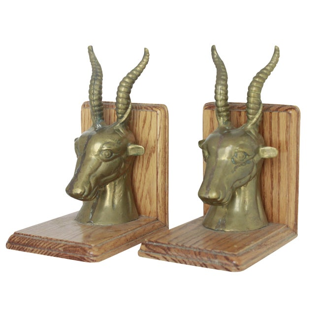 Brass wood rams head bookends a pair chairish - Sturdy bookends ...
