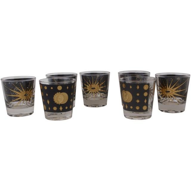 Image of Fred Press Rocks Black Gold Glasses - Set of 7