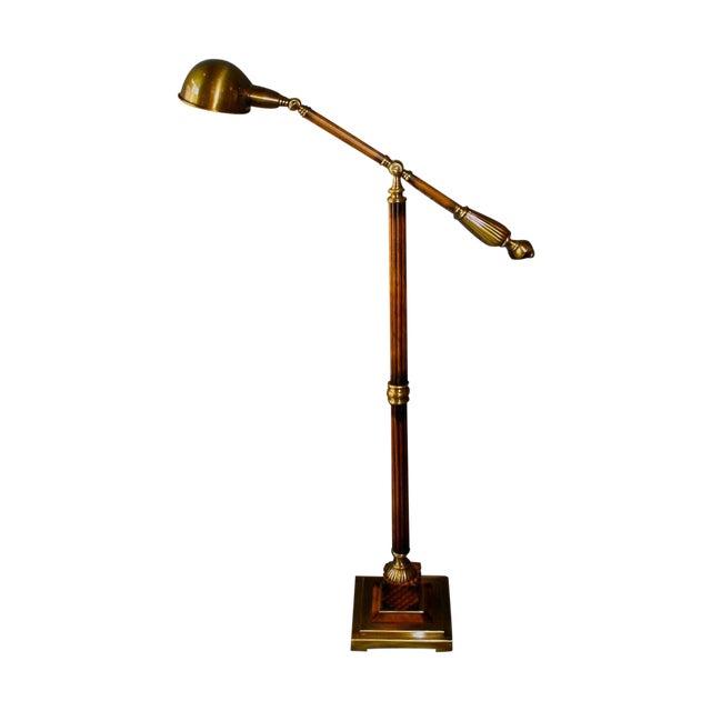 Wood & Bronze Floor Lamp - Image 1 of 6