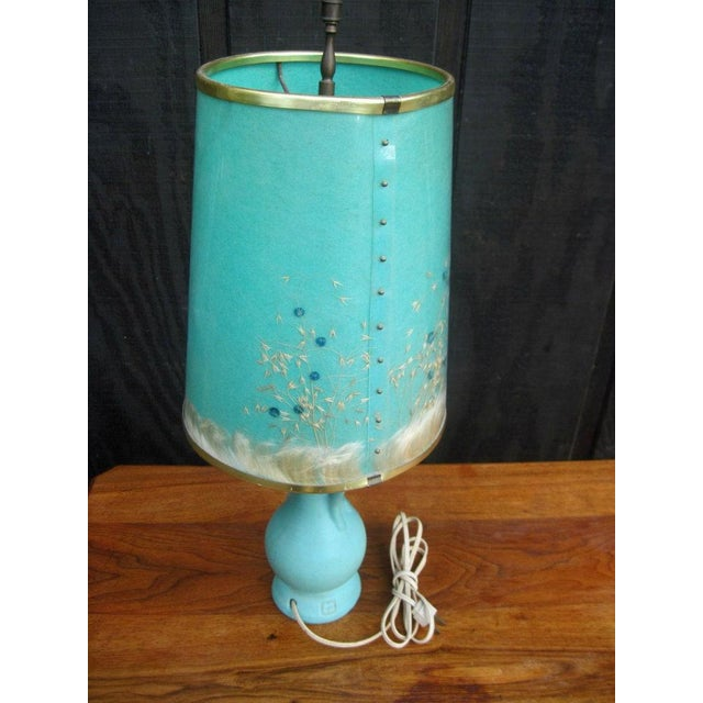 Van Briggle Turquoise Butterfly Lamp - Image 5 of 8