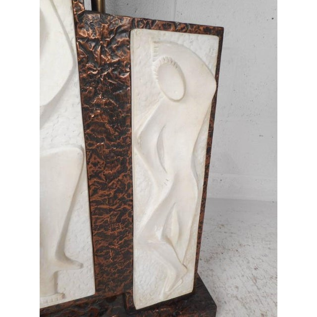 Unique Mid-Century Modern Textured Copper Table Lamp - Image 9 of 11