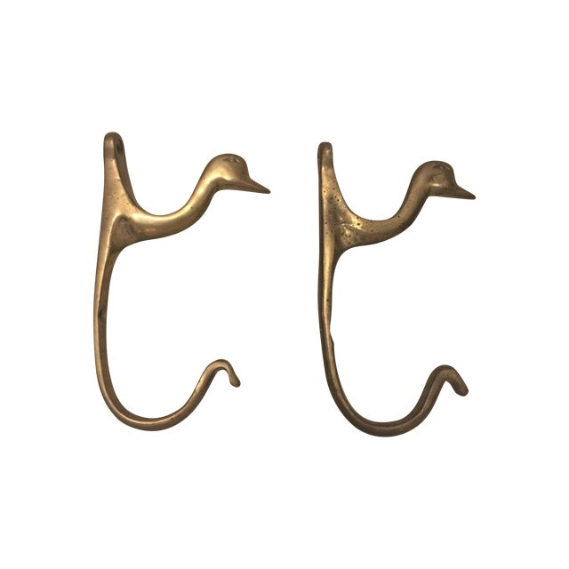 Image of Vintage Brass Duck Hooks - Pair