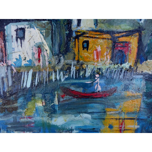 """""""Village With Pond"""" Abstract Oil Painting - Image 3 of 10"""