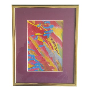Original Abstract Neon Acrylic Painting Framed and Matted