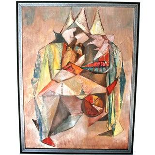 1950s Cubist Clown Painting