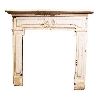 Antique Original Chippy White Painted Wooden Fireplace Mantel
