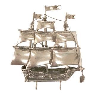 Sterling Silver Old World Sailboat Model