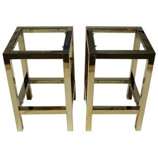 Maison Jansen Style Brass Side Tables / Pedestals - A Pair