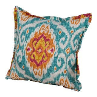 Chenille and Linen Pillow With A Bright Ikat Motif Design