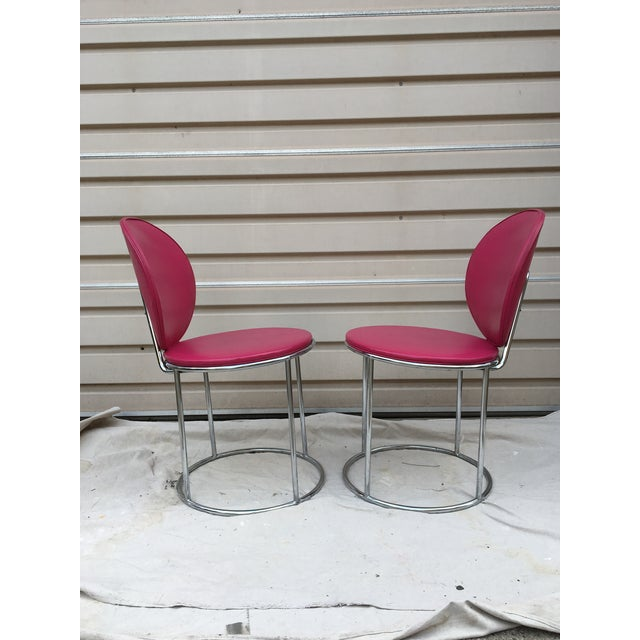 Image of Mid Century Pink Vinyl Accent Chairs - a Pair